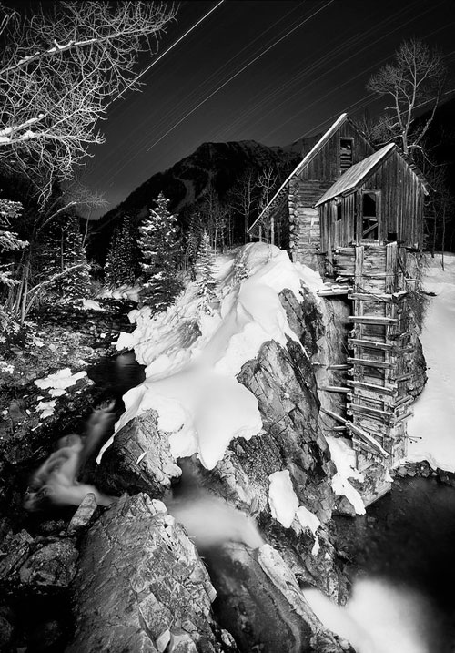 black and white Crystal Mill Trails Winter