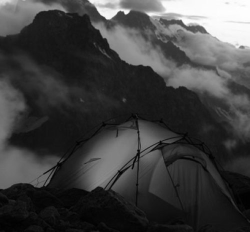 black and white Twilight in the mountains