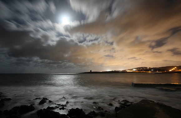 Seascape by night