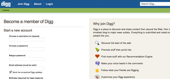 Classic Digg Registration Page
