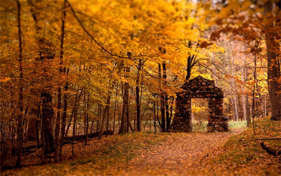 Stone gate and autumn