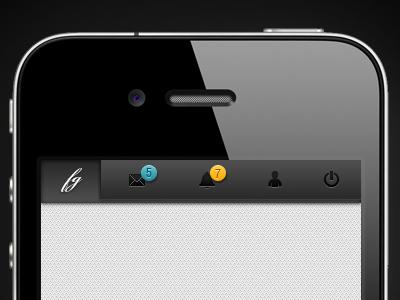 iPhone mobile app navigation bar psd