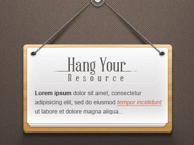 download freebie psd hanging wooden note sign