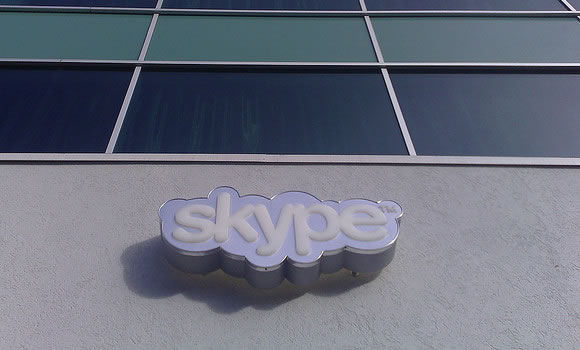 Skype chat logo on company building