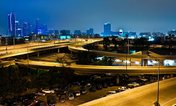 Los Angeles California freeway at night