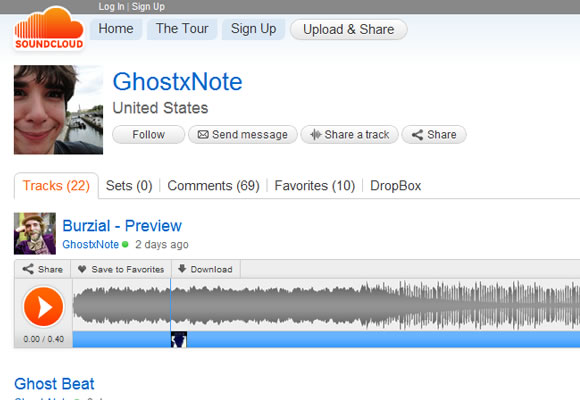 SoundCloud user profiles web design