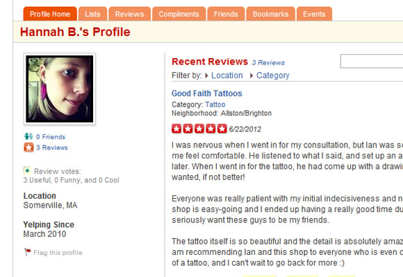 Yelp food reviews web design