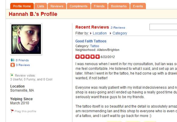 Yelp food reviews web design
