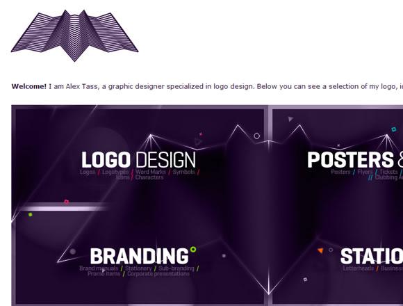Design layout and portfolio for Alex Tass