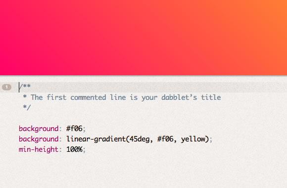 Dabblet webapp HTML/CSS Editor online