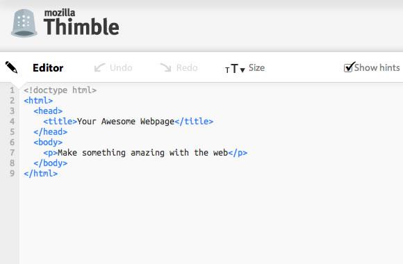Mozilla Thimble web IDE editor
