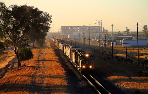 Rail train in San Joaquin Valley California