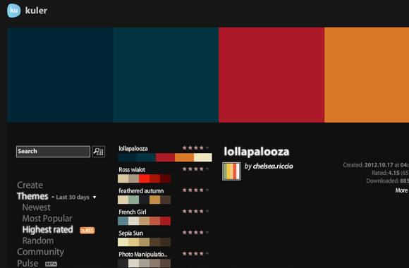 screenshot website layout Adobe Kuler webapp color picker