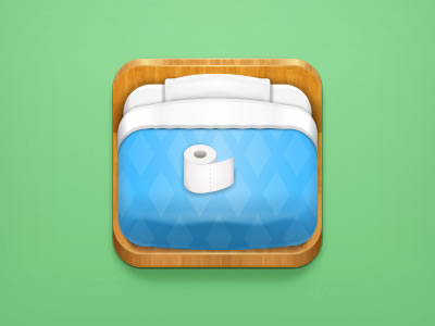 lonely otaku blue bed ipad iphone icon design