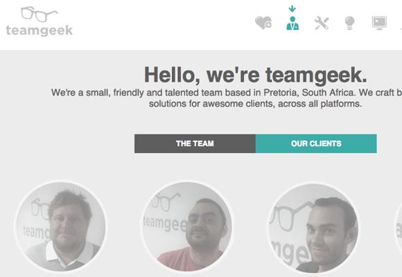 team geek website interface webdesign single pages