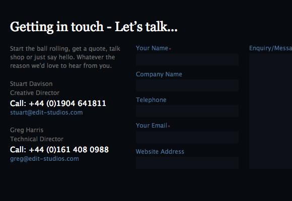 edit studios website design contact forms layout