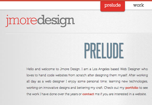 jmore design website layout interface inspiration single-page