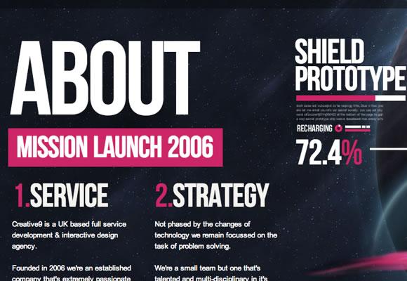 space design website infinite scrolling singlepage