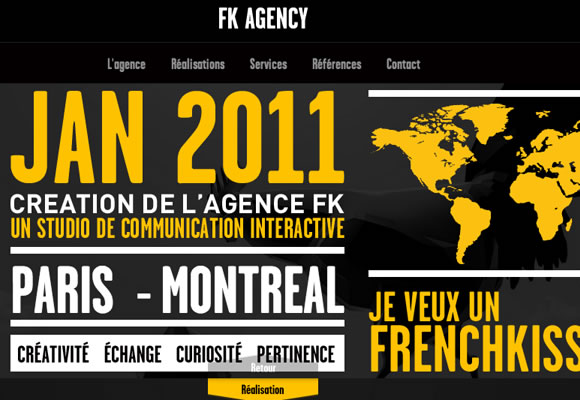 FK Agency website single page layout styles animations