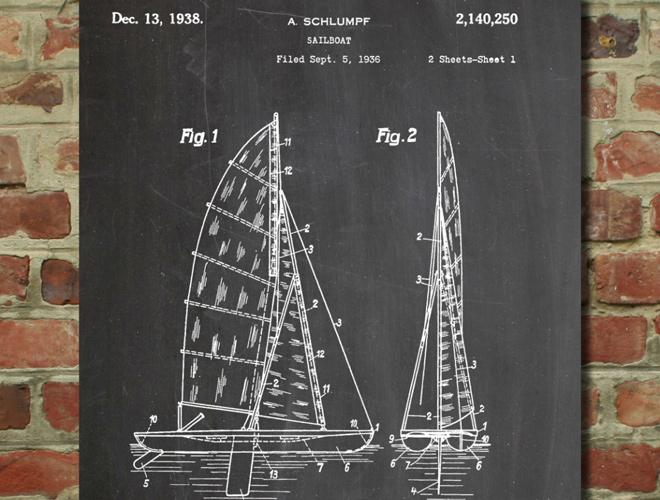 sailboat art patent artwork poster