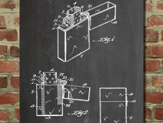 zippo lighter patent artwork poster