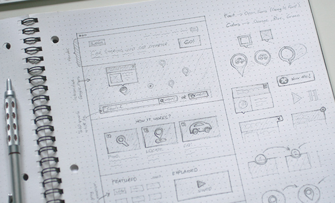 drafting sketches wireframe website ui concepts