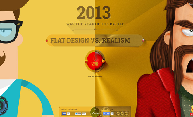 flat vs realism website landing page graphics