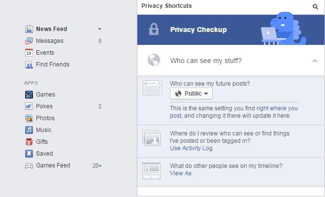 facebook nav links examples ui