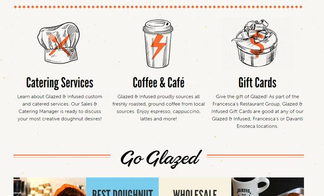 glazed and infused doughnut bakery website