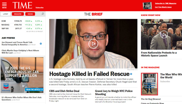time magazine red homepage digital layout website