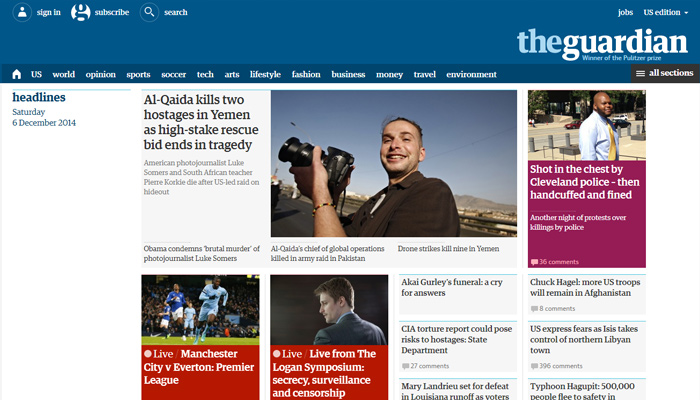 the guardian website magazine layout
