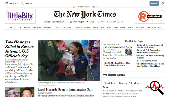 website clean magazine layout new york times