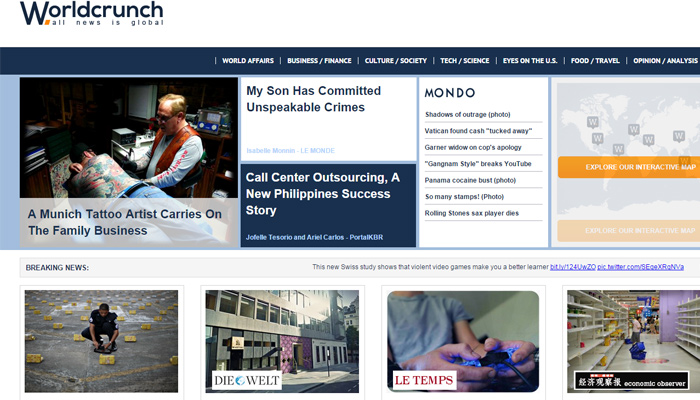 world crunch news website clean layout design