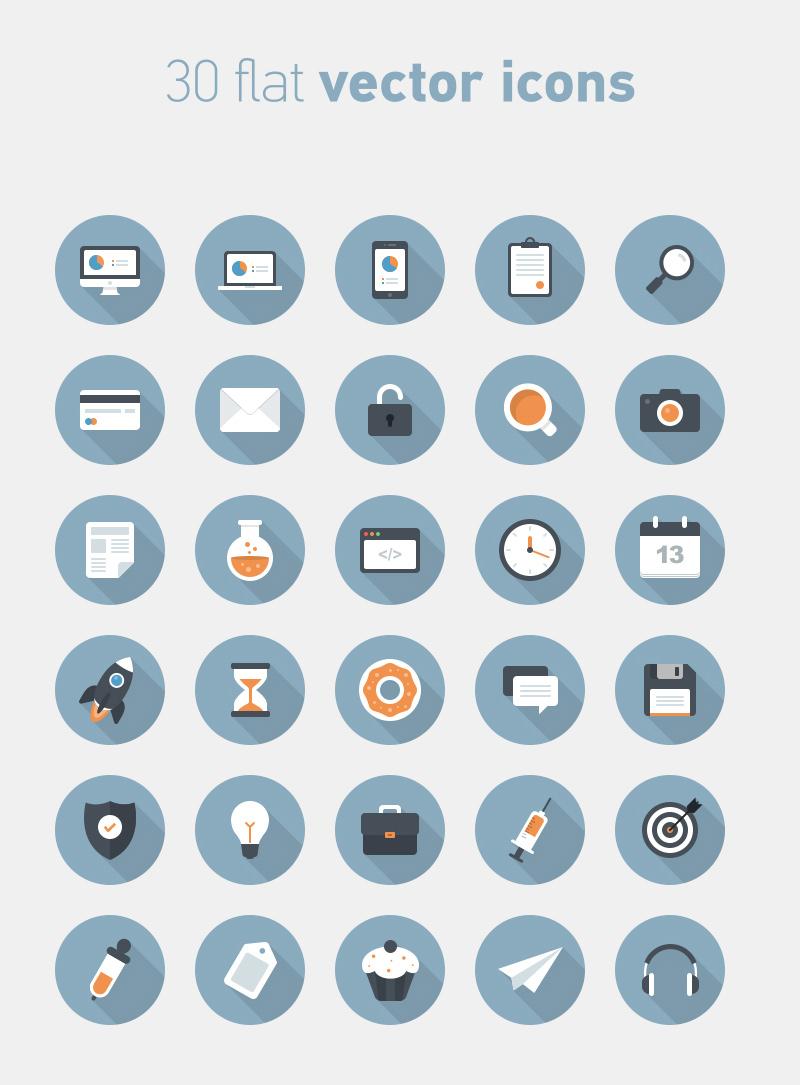 big preview - 30 free flat circle vector icons
