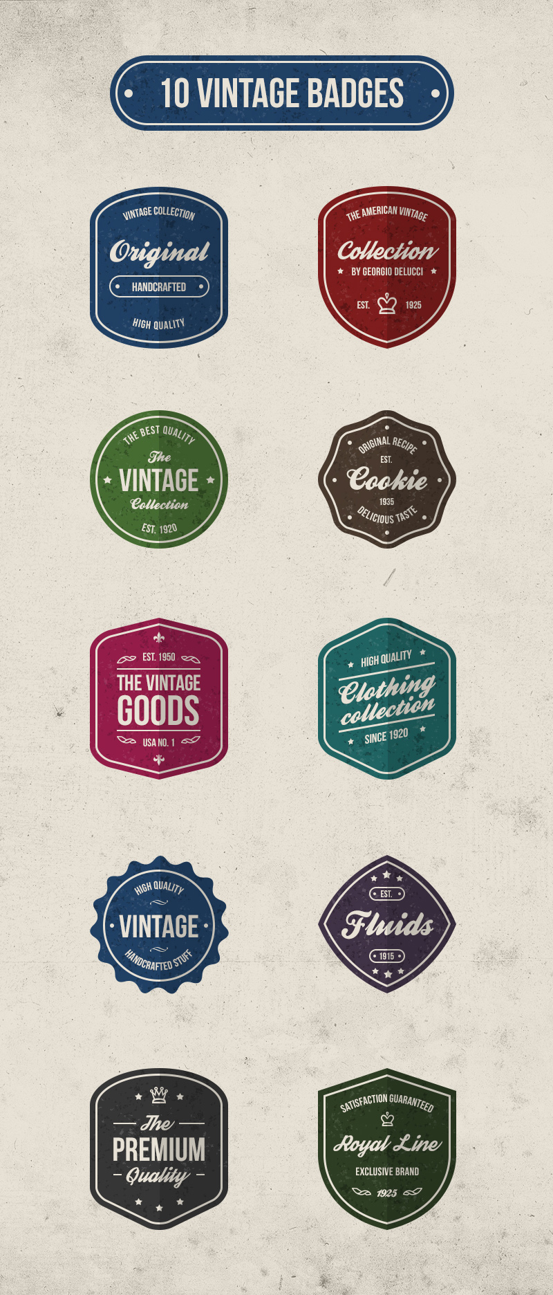 big preview - 10 free vector vintage retro badges