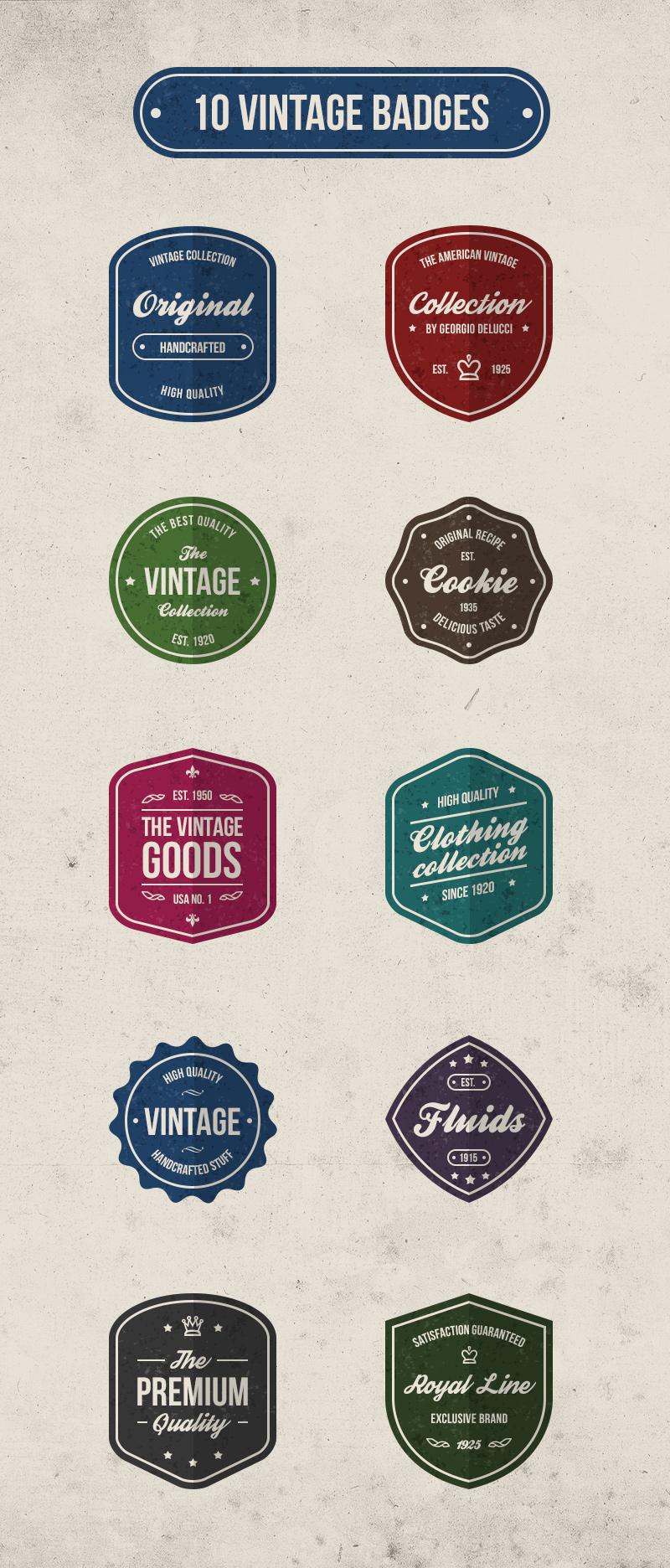big preview - 10 free vector vintage retro badges