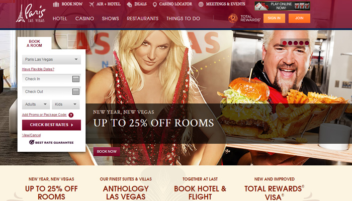 paris las vegas hotel website layout