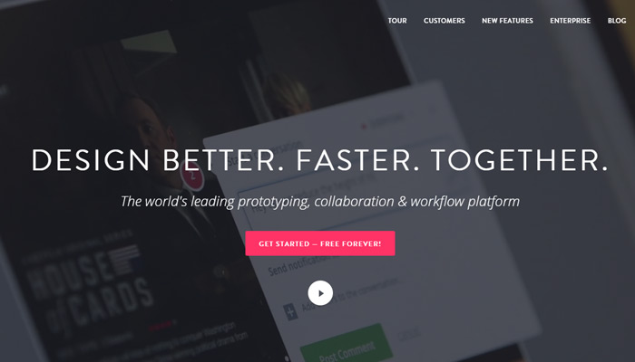 invision app homepage nav header