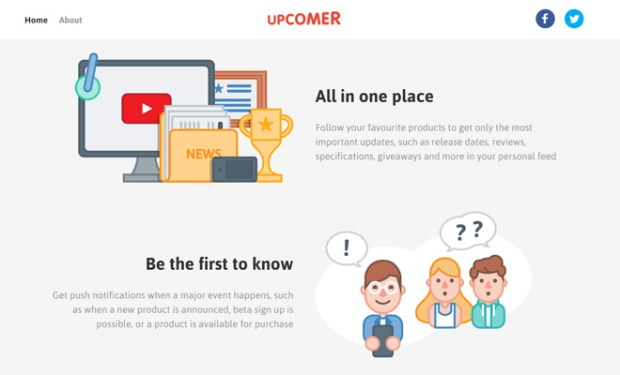 upcomer vector homepage design