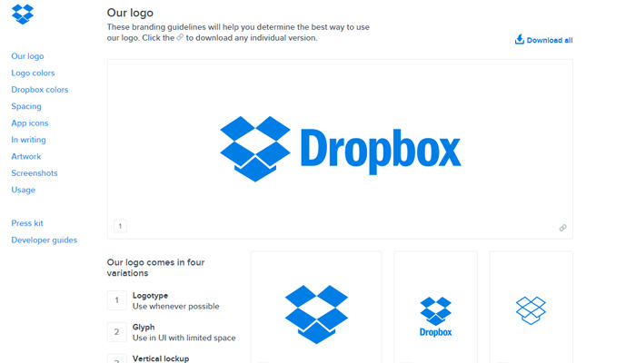 dropbox style guide website