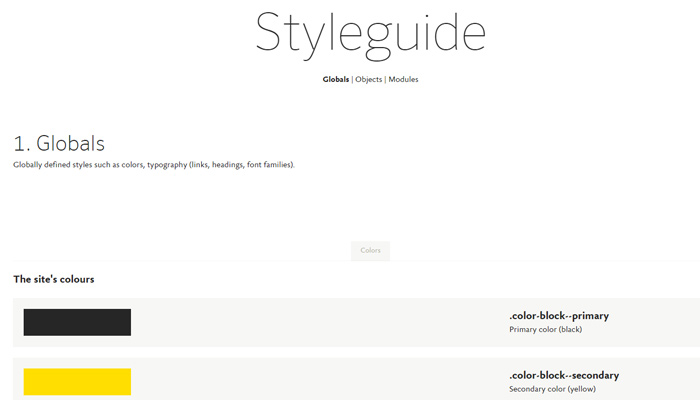 fontshop style guide website colors