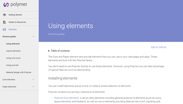 polymer website material design