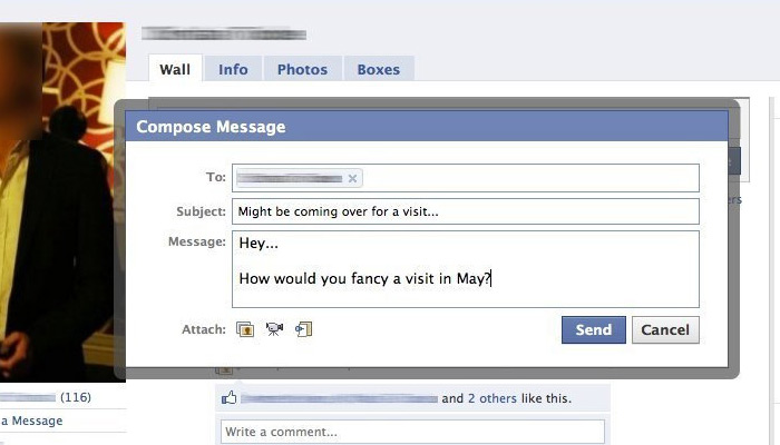 facebook modal message window