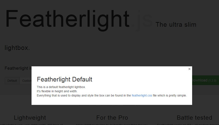 featherlight js open source modal