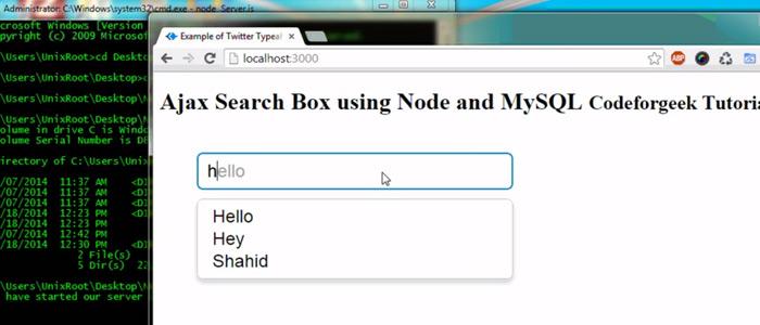 ajax search box nodejs mysql