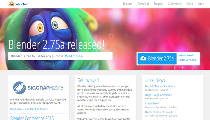 blender 3d homepage design