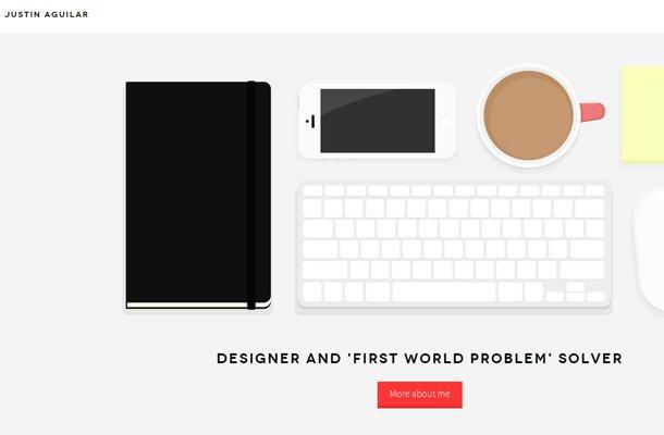 justin aguilar website portfolio simplistic
