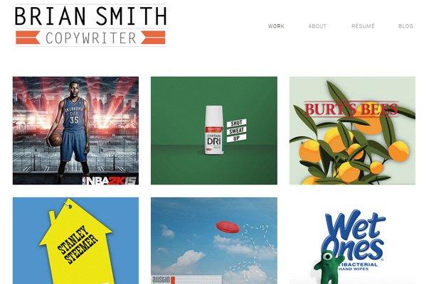 brian smith copywriter minimalist portfolio