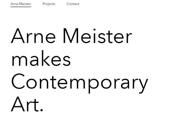 arne meister website design minimalism