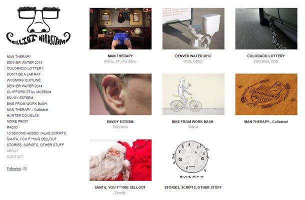 elliot nordstrom copywriter simple website portfolio